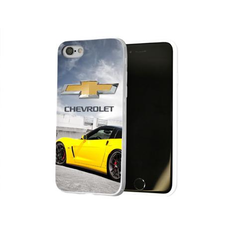 Чехол для Apple iPhone 8 силиконовый глянцевый  Фото 02, Желтый Chevrolet