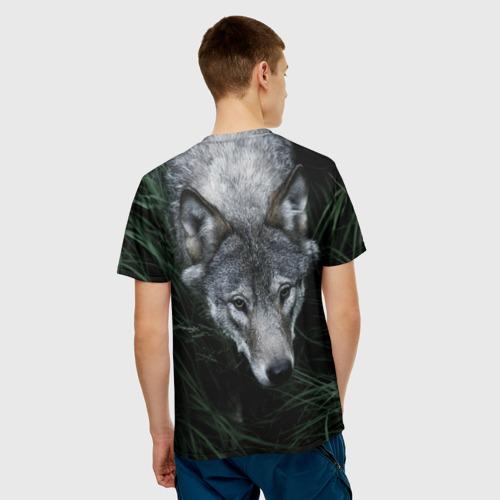 Мужская футболка 3D  Фото 02, Волк в траве