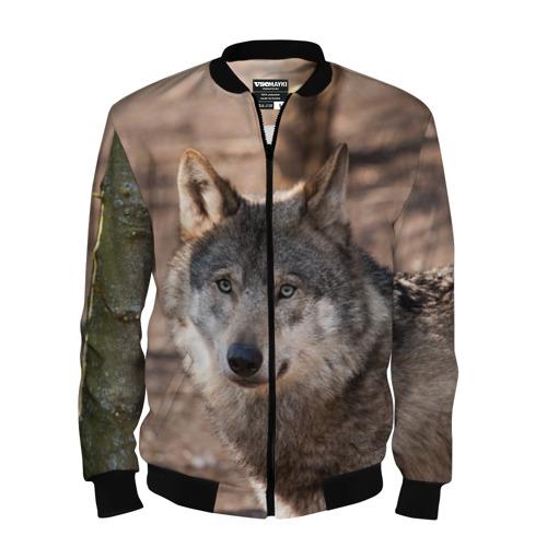 Мужской бомбер 3D Серый волк
