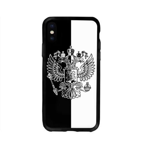Чехол для Apple iPhone X силиконовый глянцевый  Фото 01, Черно-белый герб РФ