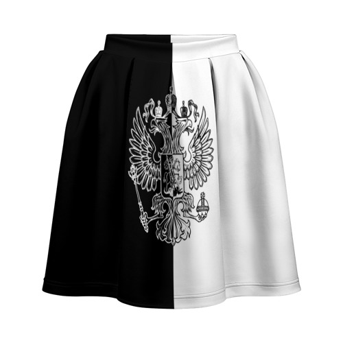 Юбка-солнце 3D Черно-белый герб РФ