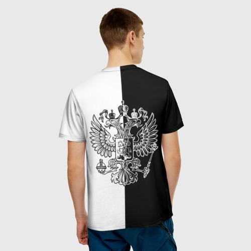 Мужская футболка 3D  Фото 02, Черно-белый герб РФ