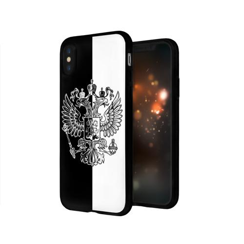 Чехол для Apple iPhone X силиконовый глянцевый  Фото 03, Черно-белый герб РФ