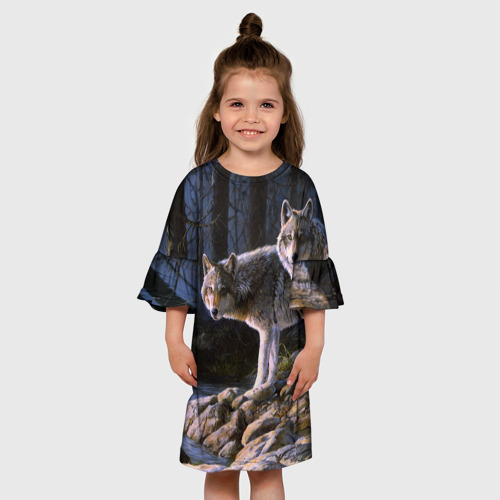 Детское платье 3D  Фото 01, Волки, картина маслом