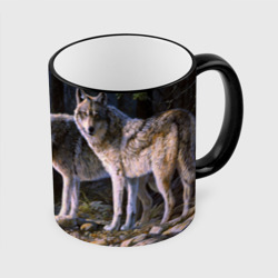 Волки, картина маслом