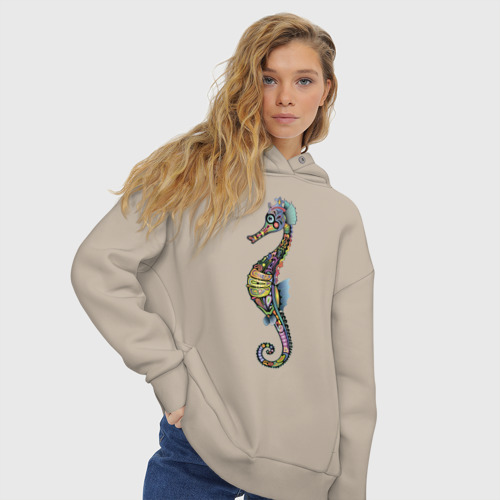 Женское худи Oversize хлопок Морской конек Фото 01