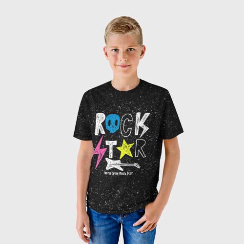 Детская футболка 3D Рождён быть рок-звездой
