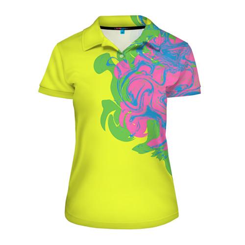 Женская рубашка поло 3D Неоновые разводы