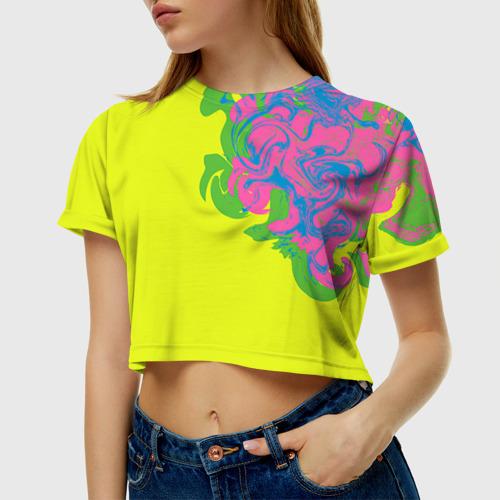 Женская футболка 3D укороченная Неоновые разводы