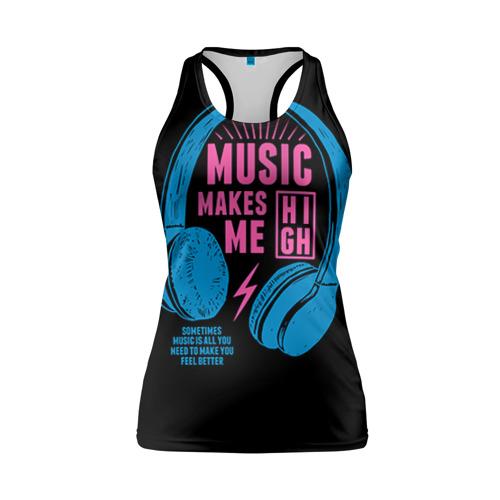 Женская майка 3D спортивная Музыка делает меня лучше