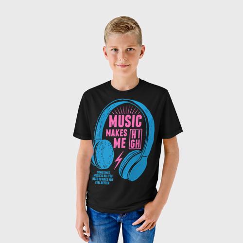 Детская футболка 3D Музыка делает меня лучше