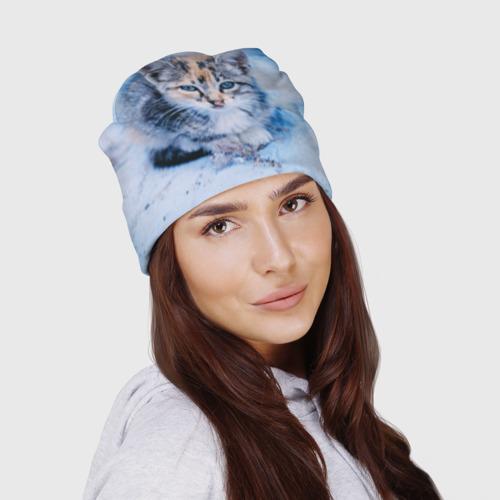 Шапка 3D  Фото 03, Трехцветный котенок зимой