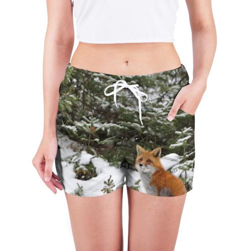 Женские шорты 3D  Фото 03, Лиса в зимнем лесу