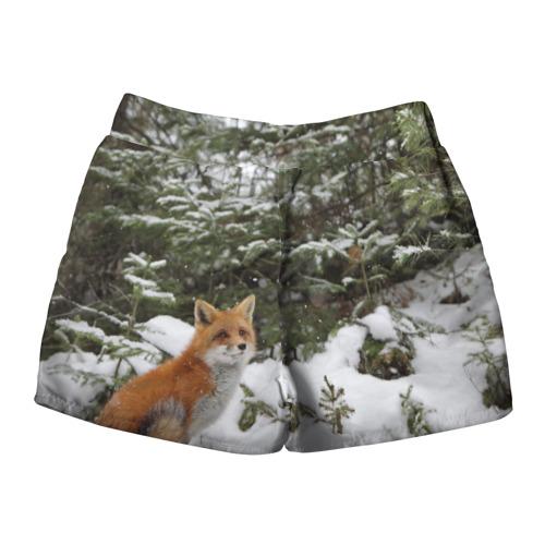 Женские шорты 3D  Фото 02, Лиса в зимнем лесу