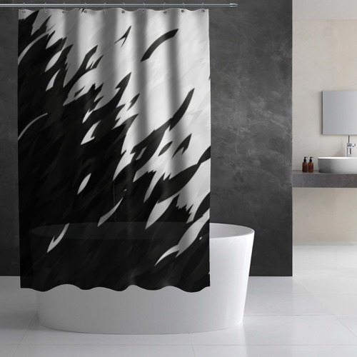 Штора 3D для ванной Black & white Фото 01
