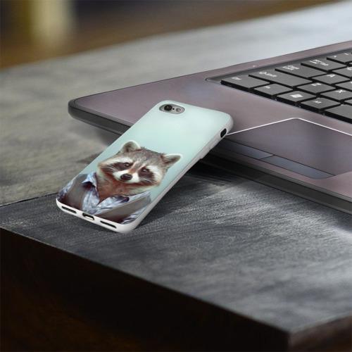 Чехол для Apple iPhone 8 силиконовый глянцевый  Фото 03, Хипстер Енот