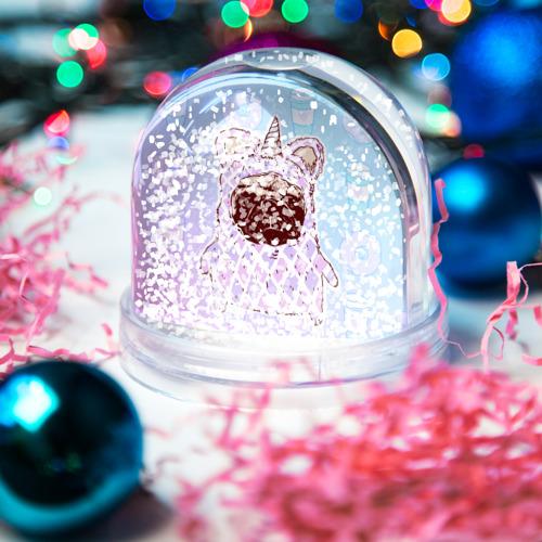 Водяной шар со снегом  Фото 04, мопс-единорог