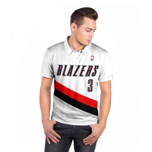Мужская рубашка поло 3D  Фото 05, Форма Portland Trail Blazers белая