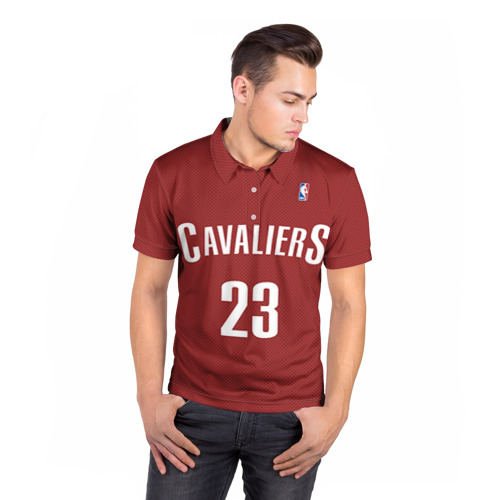 Мужская рубашка поло 3D  Фото 05, Форма Cavaliers Cleveland красная