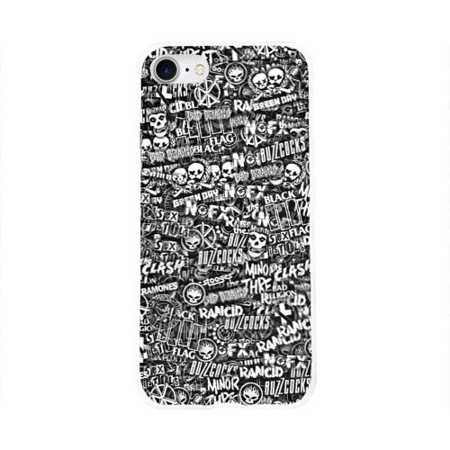 Чехол для Apple iPhone 8 силиконовый глянцевый  Фото 01, Панк-рок. стикербомбинг