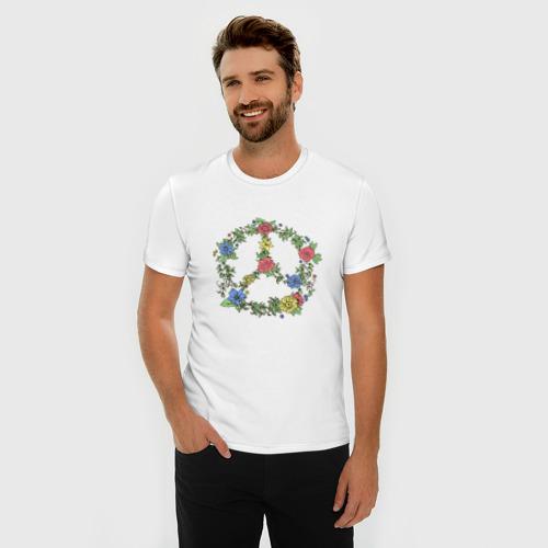 Мужская футболка премиум  Фото 03, peace flowers