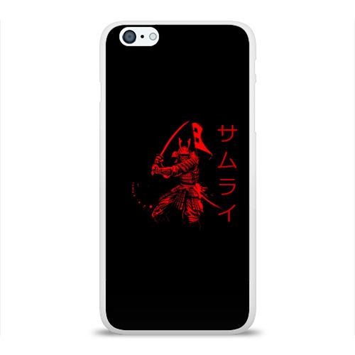 Чехол для Apple iPhone 6Plus/6SPlus силиконовый глянцевый  Фото 01, Японские иероглифы - самурай