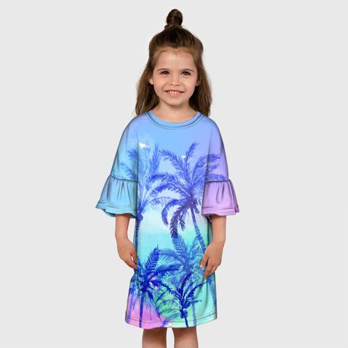 Детское платье 3D  Фото 01, Акварельное небо и пальмы