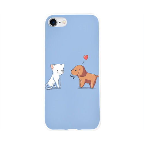 Чехол для Apple iPhone 8 силиконовый глянцевый  Фото 01, Котенок и щенок, любовь