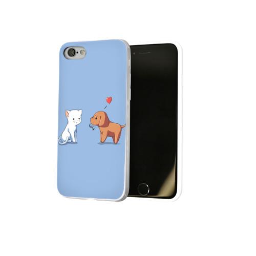 Чехол для Apple iPhone 8 силиконовый глянцевый  Фото 02, Котенок и щенок, любовь