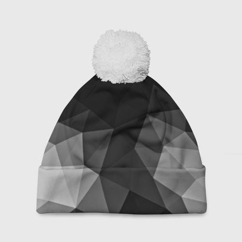 Шапка 3D c помпоном  Фото 01, Abstract gray