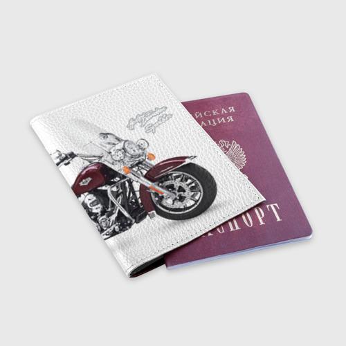 Обложка для паспорта матовая кожа Harley-Davidson Фото 01