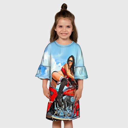 Детское платье 3D  Фото 01, Девушка на мотоцикле
