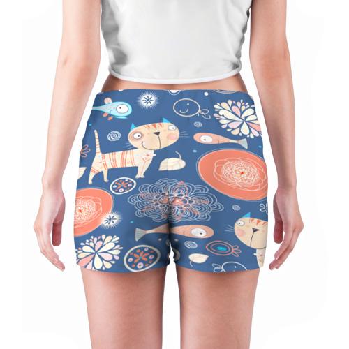 Женские шорты 3D  Фото 04, Котики и рыбка