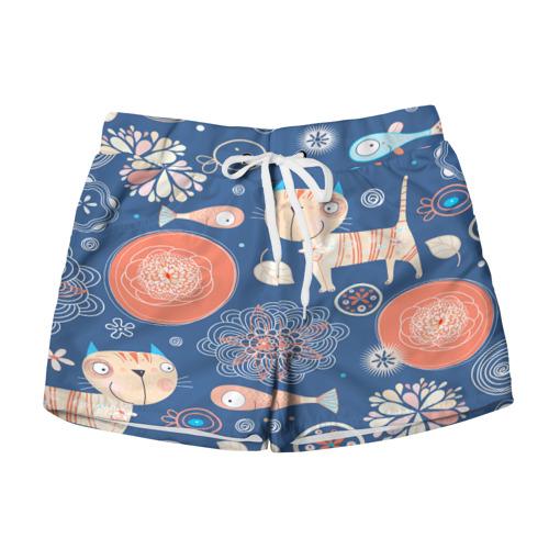 Женские шорты 3D  Фото 01, Котики и рыбка