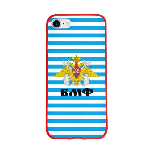 Чехол для Apple iPhone 8 силиконовый глянцевый Тельняшка синяя и герб ВМФ Фото 01
