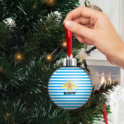 Ёлочный шар Тельняшка синяя и герб ВМФ Фото 01