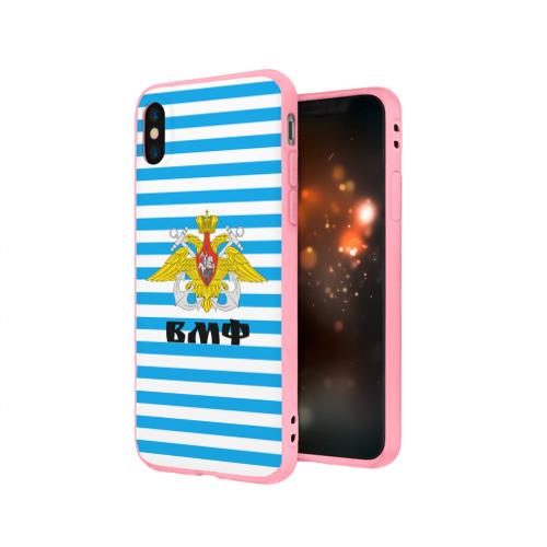 Чехол для Apple iPhone X силиконовый матовый Тельняшка синяя и герб ВМФ Фото 01
