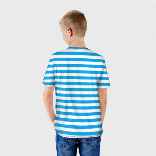 Детская футболка 3D Тельняшка синяя и герб ВМФ Фото 01