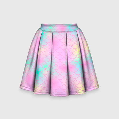 Детская юбка-солнце 3D Розовая чешуя