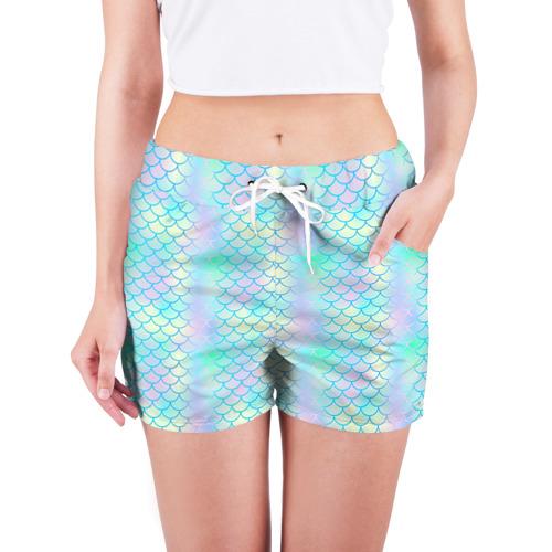 Женские шорты 3D  Фото 03, Голубая чешуя