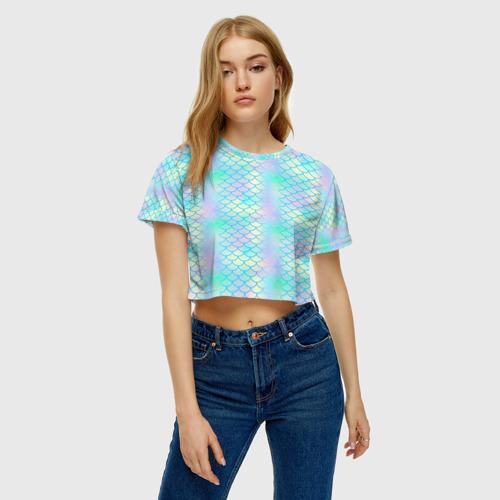 Женская футболка 3D укороченная  Фото 04, Голубая чешуя