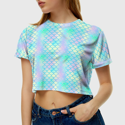 Женская футболка 3D укороченная  Фото 01, Голубая чешуя