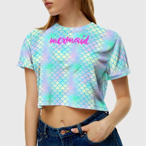 Женская футболка 3D укороченная Русалочка