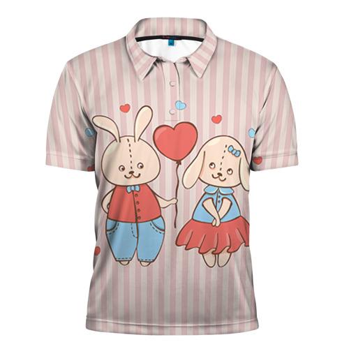 Мужская рубашка поло 3D Зайцы Ж