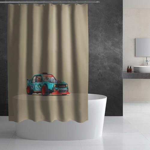 Штора 3D для ванной Гонка 2 Фото 01