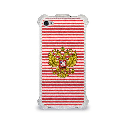 Чехол для Apple iPhone 4/4S flip  Фото 01, Тельняшка ВВ и герб РФ