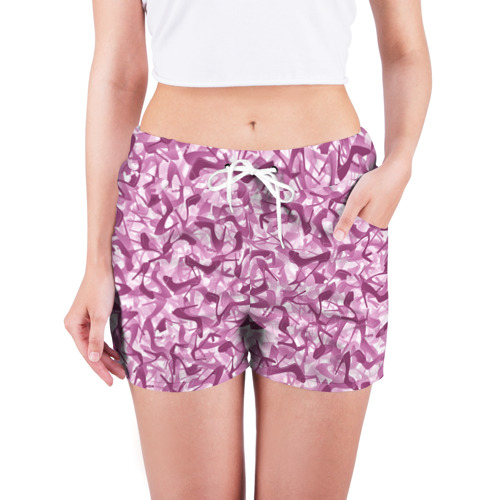 Женские шорты 3D  Фото 03, Розовый камуфляж с туфлями