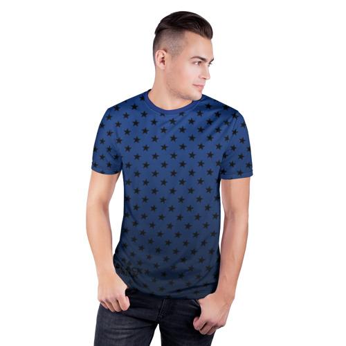 Мужская футболка 3D спортивная  Фото 03, Black Milk Blue Stars