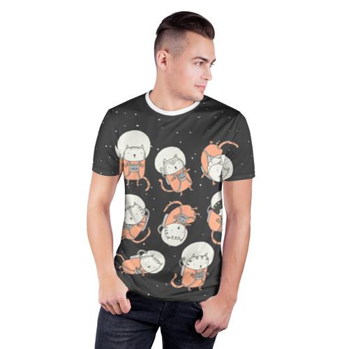 Мужская футболка 3D спортивная  Фото 03, space cat