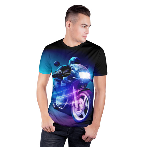 Мужская футболка 3D спортивная Мотоциклист Фото 01